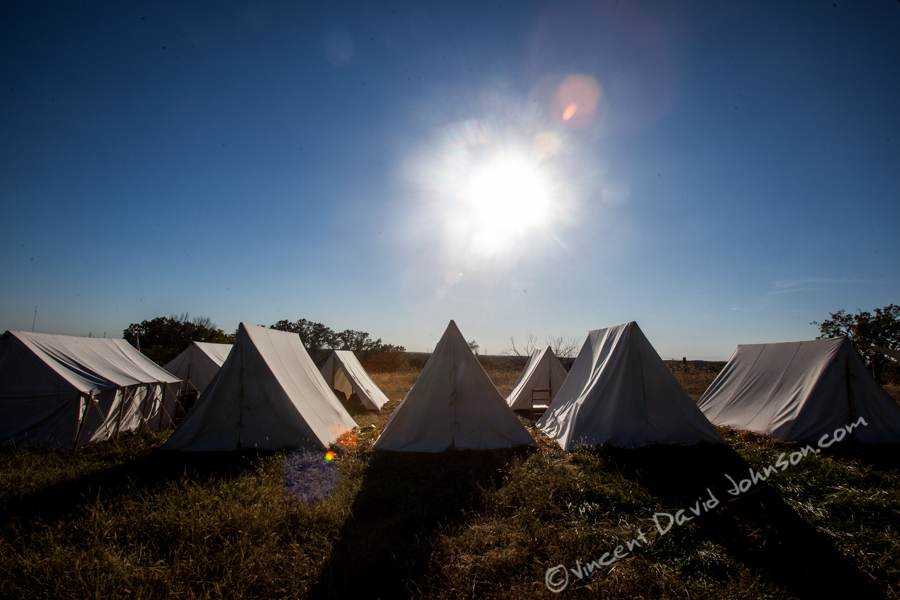 VINCENT D. JOHNSON - For Shaw Media The tents and encampments at Civil War Days at Dollinger Family Farm were not just for show, Oct. 17, 2015. More than a few reenactors talked about the below freezing temperatures from the night before.