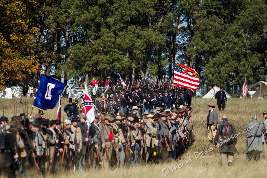 VINCENT D. JOHNSON - For Shaw MediaConfederate & Union Civil War reenactors gather in the middle of the battlefield before the start of the event, Oct. 17, 2015.