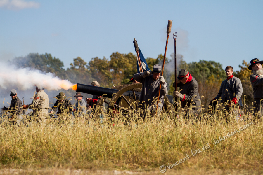 VINCENT D. JOHNSON - For Shaw MediaFlames shoot out of a cannon as reenactors portray Confederate soldiers during Civil War Days at Dollinger Family Farm in Channahon, Oct. 17, 2015.
