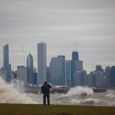 Chicago, 10/30/12--41st  Street Beach, Hurricane Sandy's effect on Lake Michigan. Photo by Vincent D. Johnson~Othervertical Media