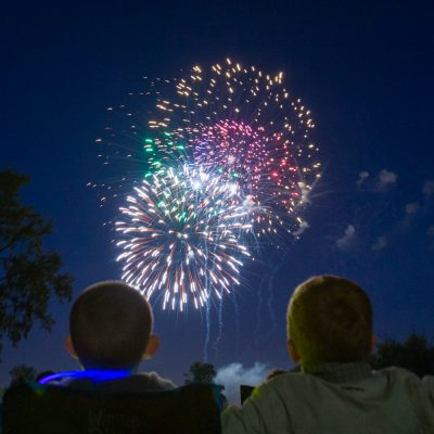 Sean Mitchell, 7 of Gurnee & Evan Fagan, 4 of Libertyville had front row seat by the lake at Butler Park for the 4th of July fireworks. Pioneer Press photo by Vincent D. Johnson. July 4th, 2008.